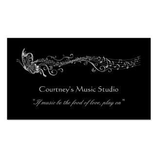Notas filigranas de prata da música das borboletas cartão de visita