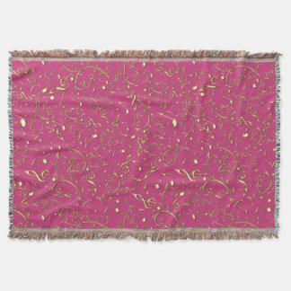 Notas florais da música do ouro no rosa quente ou coberta