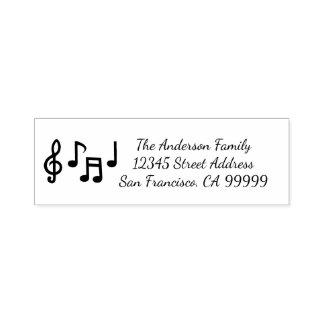 Notas musicais - auto que cobre o selo do endereço carimbo auto entintado