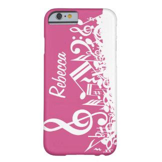 Notas musicais personalizadas rosa quente e branco capa barely there para iPhone 6