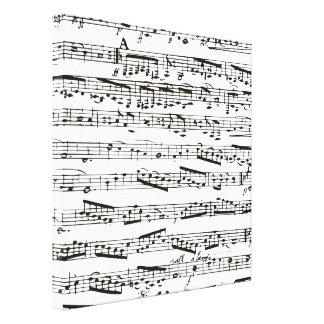 Notas musicais preto e branco impressão em tela