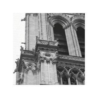 Notre-Dame em preto e branco Impressão De Canvas Envolvida