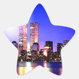 Nova Iorque na etiqueta da estrela da noite