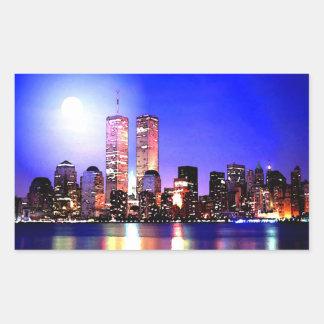 Nova Iorque na etiqueta do retângulo da noite Adesivo Retangular