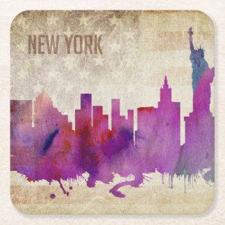Nova Iorque, skyline da cidade da aguarela de NY | Porta-copo De Papel Quadrado