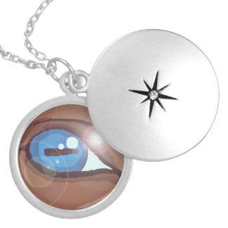 Novo! locket do olho do cavalo do collection* dos colar banhado a prata