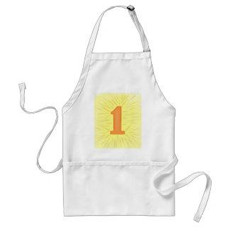 Número 1 em aventais alaranjados e amarelos