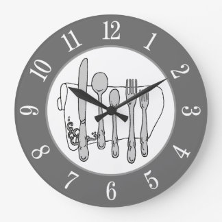 Número branco do guardanapo branco cinzento da relógio de parede