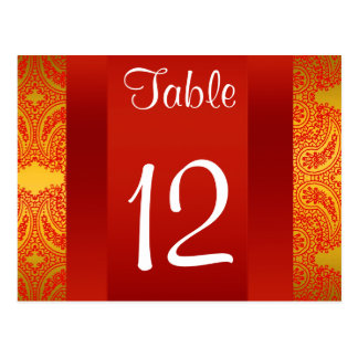 Número da mesa de Paisley do vermelho de BW 112 da Cartão Postal