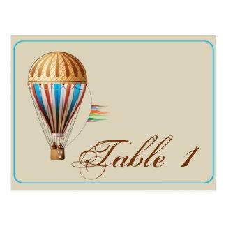 Número da mesa do casamento do balão de ar quente cartão postal