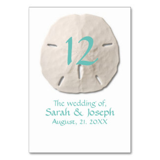 Número da mesa do casamento do dólar de areia