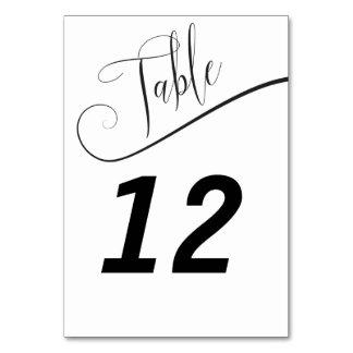 Número elegante preto e branco da mesa