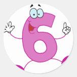Número feliz 6 adesivos em formato redondos