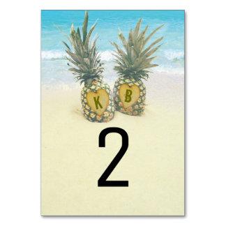 Número tropical da mesa de destino da praia do
