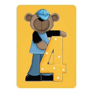 Número urso de quatro aniversários convite 12.7 x 17.78cm