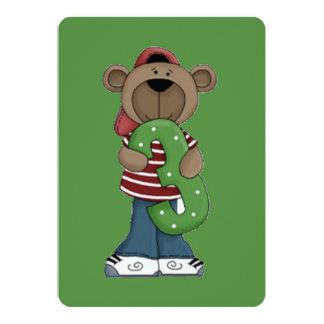 Número urso de três aniversários convite 12.7 x 17.78cm