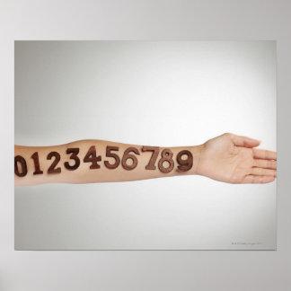 números afixados ao braço, fim-acima dos ands pôster