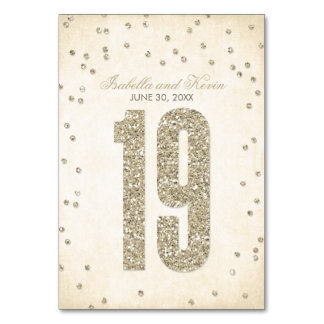 Números da mesa do casamento dos confetes do olhar