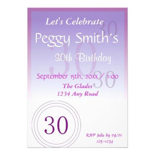 Números do aniversário de 30 anos convite personalizados