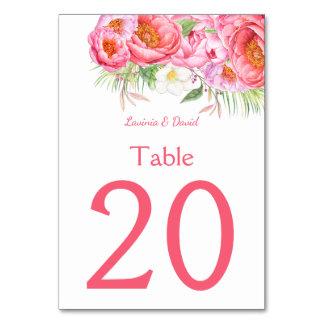 Números florais da mesa da aguarela cor-de-rosa