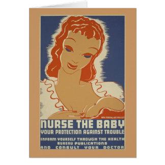 Nutra o poster de WPA do bebê Cartão Comemorativo