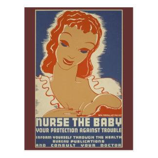 Nutra o poster de WPA do bebê Cartão Postal