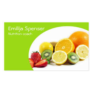 Nutricionista amarelo verde/cartão saudável da cartão de visita