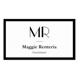 Nutricionista da dietista - monograma à moda limpo cartão de visita