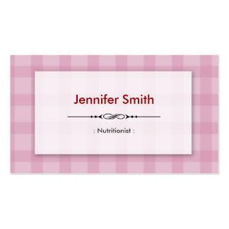 Nutricionista da dietista - quadrados cor-de-rosa cartão de visita