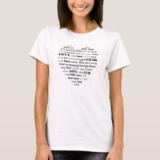 Nuvem da palavra do coração do amor - preto tshirt