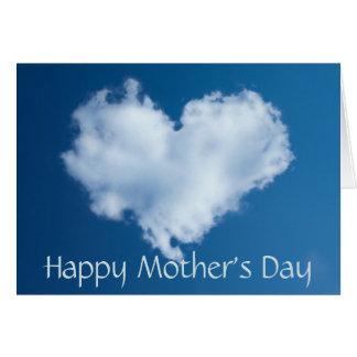 Nuvem feliz do coração do amor do dia das mães cartão comemorativo