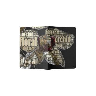 Nuvem floral da palavra da flor da orquídea sobre capa para passaporte