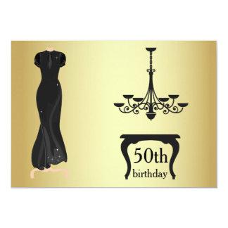 O 50th ouro elegante e o preto do aniversário convite 12.7 x 17.78cm