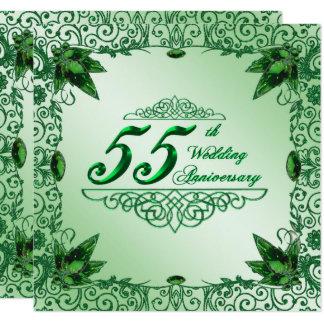 O 55th aniversário de casamento elegante 5.25x5.25 convite quadrado 13.35 x 13.35cm