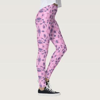 O abstrato dá forma a caneleiras cor-de-rosa e legging