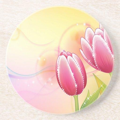 O abstrato floresce a tulipa morna da gema das cor porta-copos
