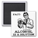 O álcool é uma solução na química retro imãs
