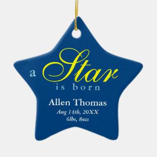 O amarelo do marinho uma estrela é anúncio nascido ornamento de cerâmica estrela