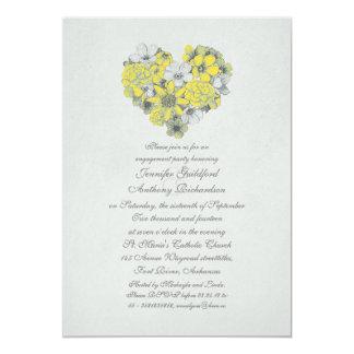 o amarelo floresce a festa de noivado do vintage convite 12.7 x 17.78cm