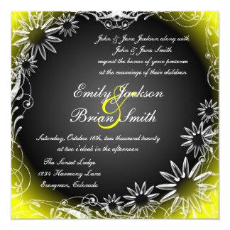 O amarelo preto desvanece-se convites do casamento convite quadrado 13.35 x 13.35cm