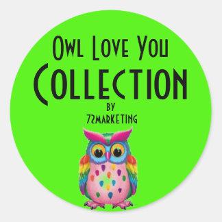 O amor da coruja você coleção pela etiqueta adesivo