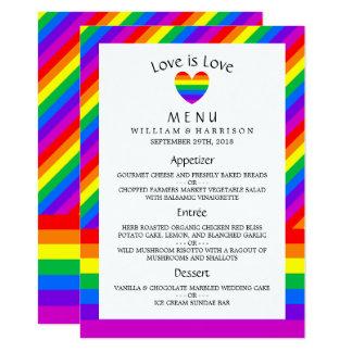 O amor do coração do arco-íris é menu do casamento convite 11.30 x 15.87cm