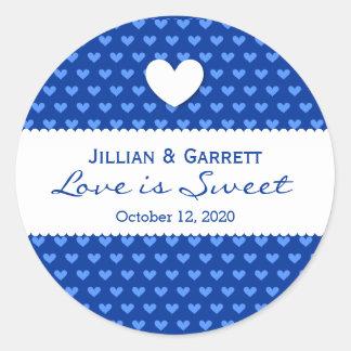 O amor é corações doces do azul do bufete V10 dos Adesivo