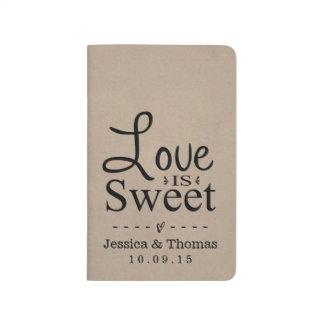 O amor é doce! Jornal moderno do bolso de Kraft