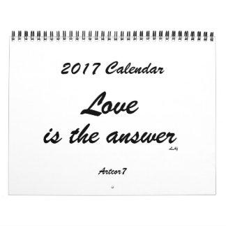 O amor é o padrão branco do calendário da resposta