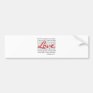 O amor é paciente, amor é amável adesivo para carro