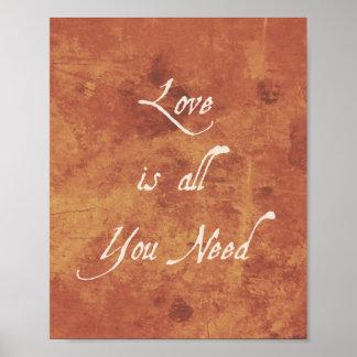 O amor inspirado do impressão das citações é antig