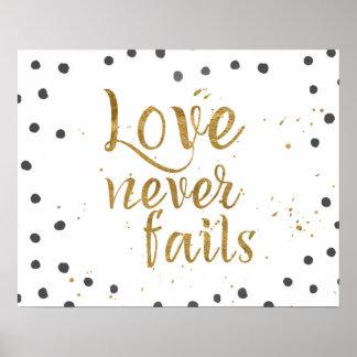 """O """"amor nunca falha"""" o poster decorativo do ponto pôster"""
