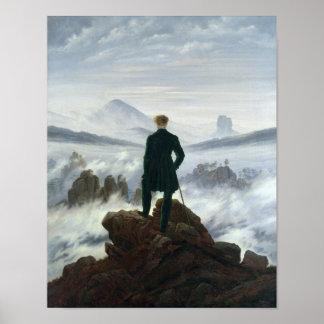 O andarilho acima do mar da névoa 1818 posteres