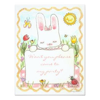 o aniversário cor-de-rosa do coelho convida convite 10.79 x 13.97cm